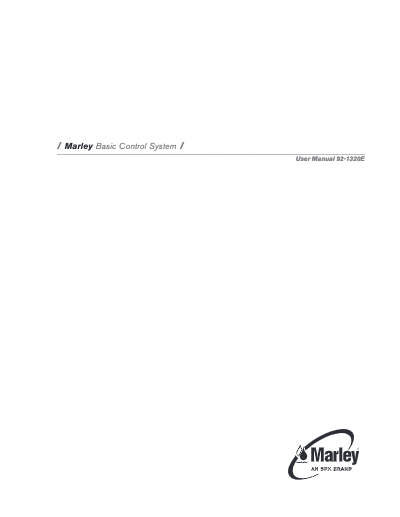 Marley Cooling Tower Basic Control System Manual - Non Current