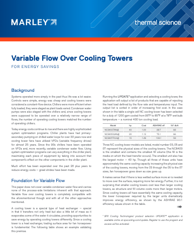 Variable Flow over Cooling Towers